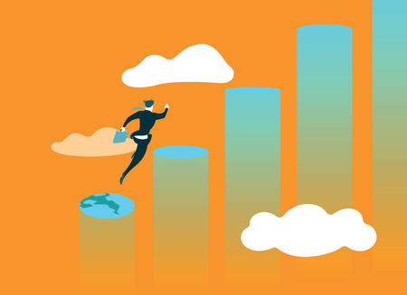 Jumping from stage to stage. Achieving success Illustration