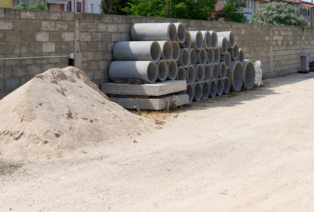 prefabricated: prefabricated concrete pipes used for making sewers and pipelines
