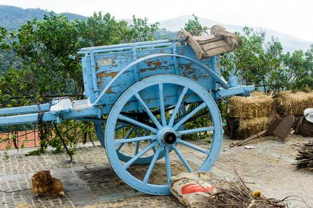 carreta madera: Carreta de madera vieja usada por los agricultores en Cerde�a Foto de archivo