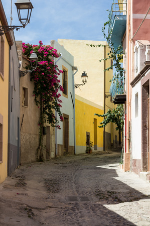 flourished: Narrow street flourished in the historic center of Bosa, Sardinia Stock Photo