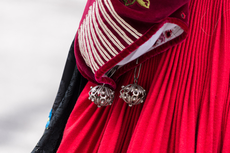 costume jewelry: Traditional jewelry and costume details Sardinian Stock Photo