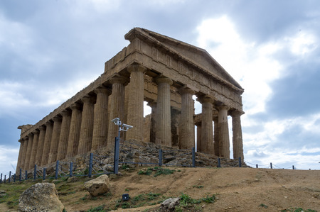 Temple of concord site in the Valley of Temples, Agrigento Stock Photo