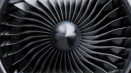 Font View for jet engine,3D rendering