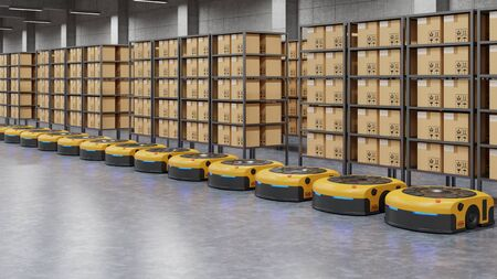Warehouse in logistic center with Automated guided vehicle Is a delivery vehicle.3D Rendering Stock fotó
