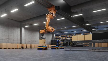 Robotic arm for packing with producing and maintaining logistics systems using Automated Guided Vehicle (AGV),3d rendering Stock fotó