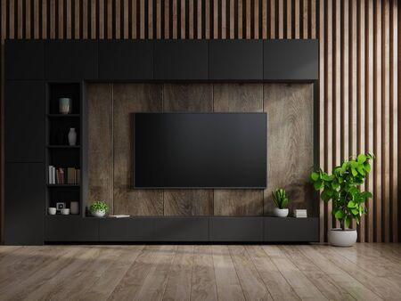TV on cabinet in modern living room with lamp,table,flower and plant on wooden wall background,3d rendering