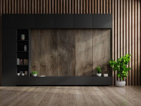 Cabinet TV in modern living room with decoration on wooden wall background,3d rendering Archivio Fotografico