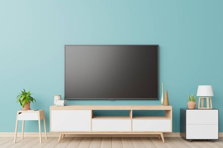 TV in live room and wall blue,3D Rendering