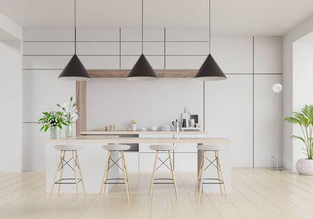 Modern kitchen room interior,Modern restaurant room,Modern coffee shop interior on white wall background. 3d render