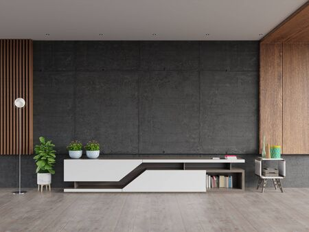 Mortar rack TV with cement screen wall on the wall in modern living room.3d rendering Archivio Fotografico