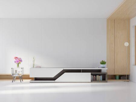 shelf tv in modern empty room,minimal design, 3d rendering
