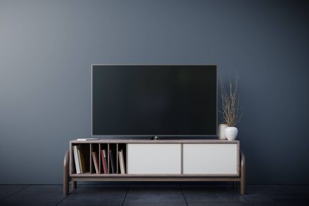 TV room and dark wall in living room,minimal design,3d rendering