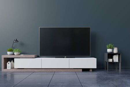 LED TV on the dark wall in living room,minimal design,3d rendering
