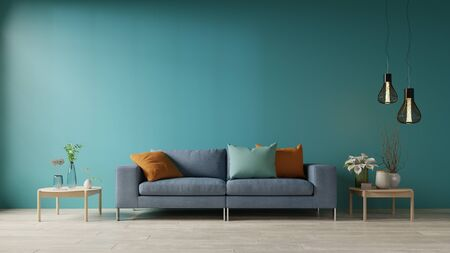 Blue living room with sofa and table,3d rendering