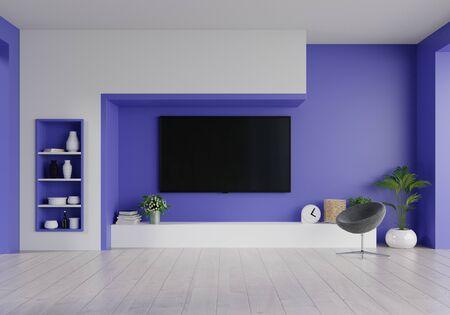 LED TV on the phantom blue wall in living room,minimal design,3d rendering