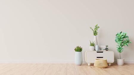 Cabinet in interior room background of living room ,3D rendering
