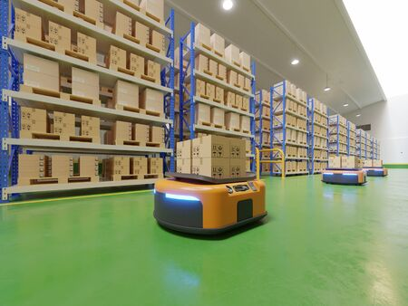 Interior of warehouse in logistic center with Automated guided vehicle Is a delivery vehicle. Banque d'images