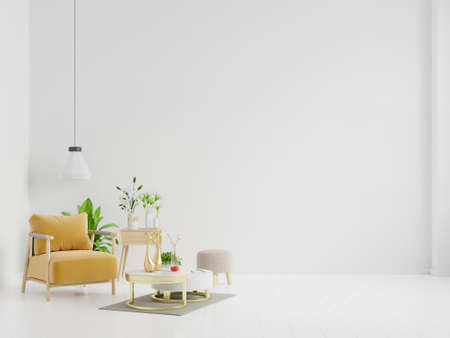 Living room with wooden table, lamps and yellow armchair, 3d rendering