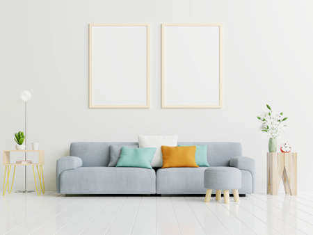 Poster mockup with vertical frame standing on floor in living room interior with gray sofa.3D rendering Foto de archivo