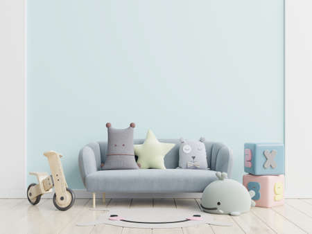 Blue sofa and doll,cute pillows in elegant child's room with mockup wall.3d rendering Archivio Fotografico