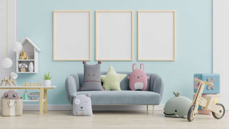 Blue sofa and doll,cute pillows in elegant child's room with posters on the wall.3d rendering Archivio Fotografico