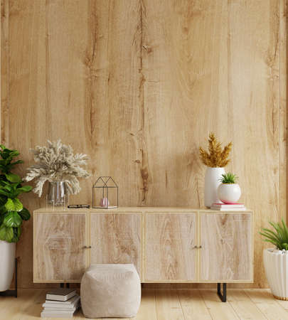 Cabinet in modern living room with decoration on wooden wall background,3d rendering Stock Photo