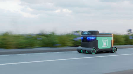 Delivery Robot Food delivery robots may serve homes in near future. AGV intelligent robot.3d rendering 版權商用圖片