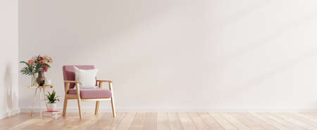 Modern minimalist interior with an armchair on empty white wall background,3D rendering Foto de archivo
