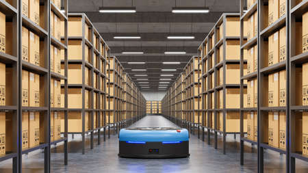 Robots efficiently sorting hundreds of parcels per hour(Automated guided vehicle) AGV.3d rendering Stock fotó