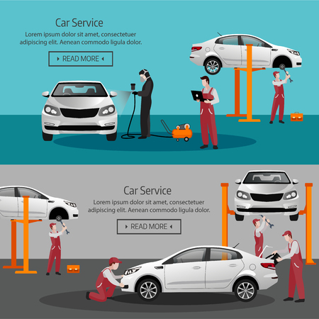 Flat horizontal banners with scenes presents workers in car service tire service and car repair vector illustration isolated vector illustration
