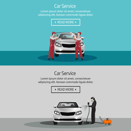 Flat horizontal banners with scenes presents workers in car service tire service and car repair vector illustration Stock Illustratie