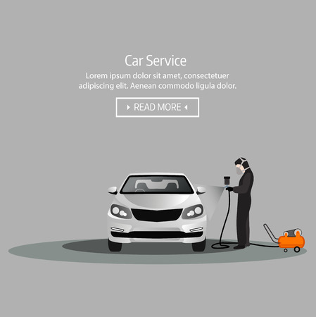 Flat horizontal banners with scenes representing the worker in the car workshop, the worker paints the car, vector illustration