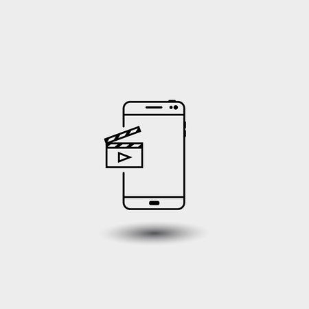 Technology smartphone with video clipper. Vector illustration on white background Vettoriali