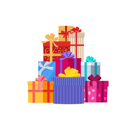 Big pile of colorful wrapped gift boxe Isolated vector illustration