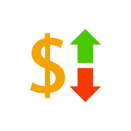 Growth dollar up icon, investment and economy, vector illustration