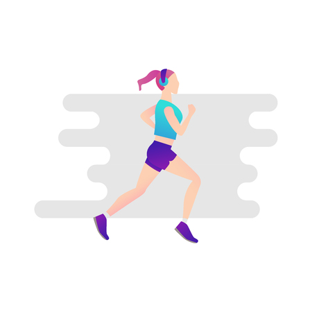 Illustration of sports girl on white isolated background, vector illustration