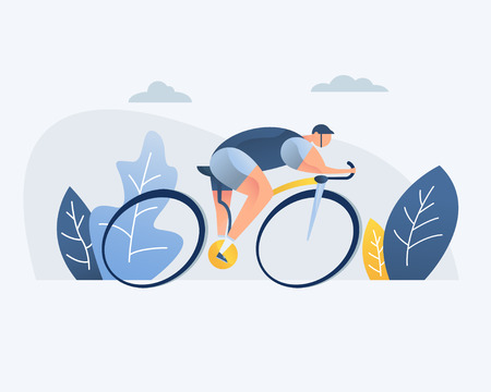 Bike riding man, vector illustration. Park, forest, trees and hills in the background. Banner, site, poster, template for a site.