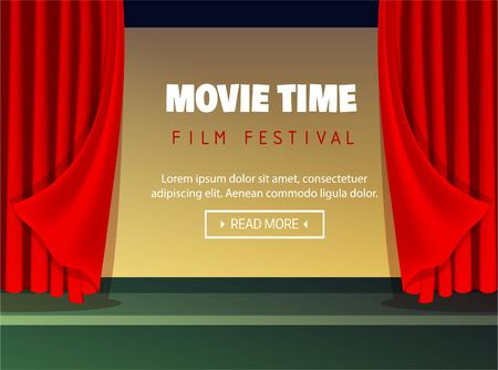 Cinema time concept. Premiere event template. Super show design. Movie time. Vector illustration