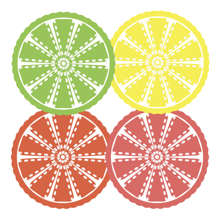 citrus slices - orange, lemon, lime and grapefruit, Çizim
