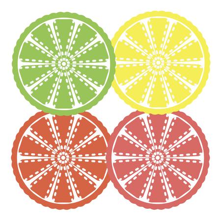 citrus slices - orange, lemon, lime and grapefruit, Illustration