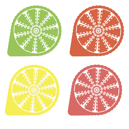 Collection of citrus slices - orange, lemon, lime and grapefruit, icons set, colorful isolated on white background, vector illustration. Çizim