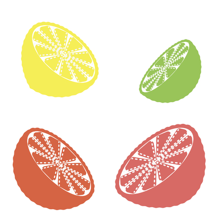 Collection of citrus slices - orange, lemon, lime and grapefruit, icons set, colorful isolated on white background, vector illustration. Illustration