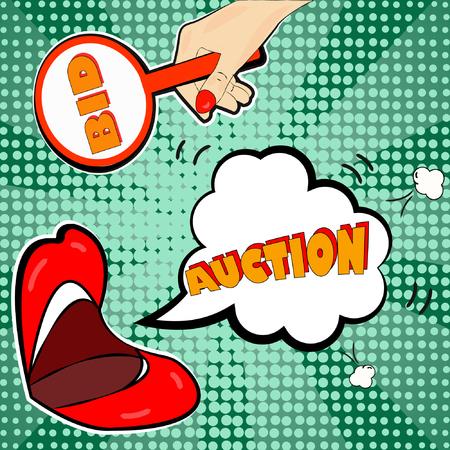 Die Ankündigung der Auktion im Pop-Art-Stil macht auf Ihre Aktionen aufmerksam