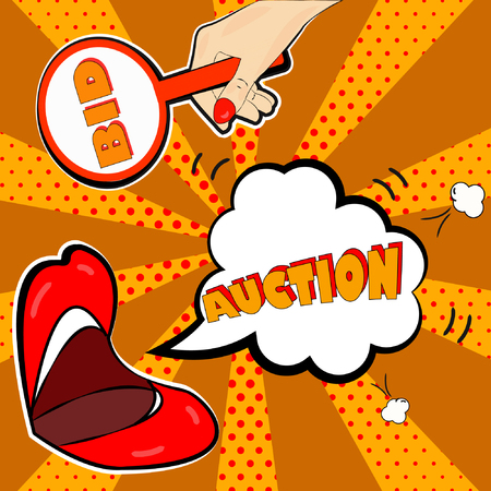 The announcement of the auction in the style of pop art will attract attention to your promotions