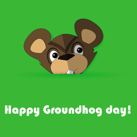 illustration of funny groundhog. card with cute marmot and text. Design for Groundhog day. Flat style.