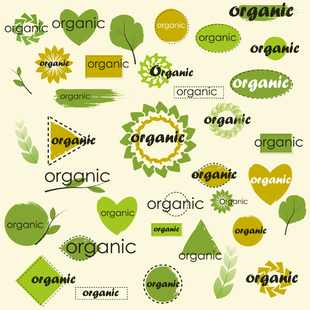 Mega set of labels for different variations Organic for your designs for food market, eCommerce, organic products promotion, healthy life and premium quality food and drink. Çizim