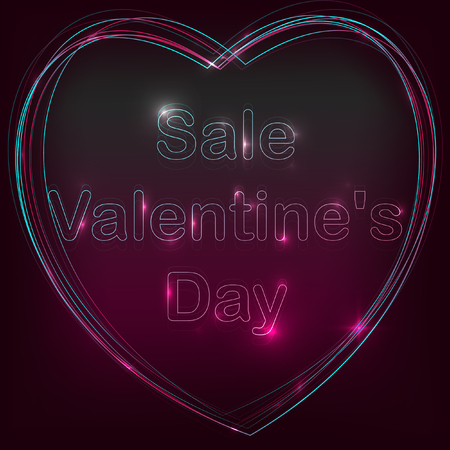 Sale of Valentines day. Neon sign and neon heart illustration.