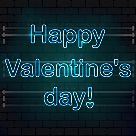 Happy Valentines day. The blue Neon sign on a brick wall. eps 10