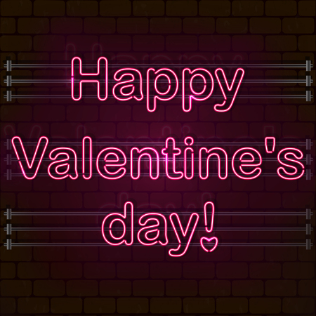 Happy Valentines day. The pink Neon sign on a brick wall. eps 10