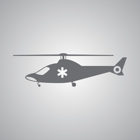 Ambulance helicopter icon in flat style Illustration